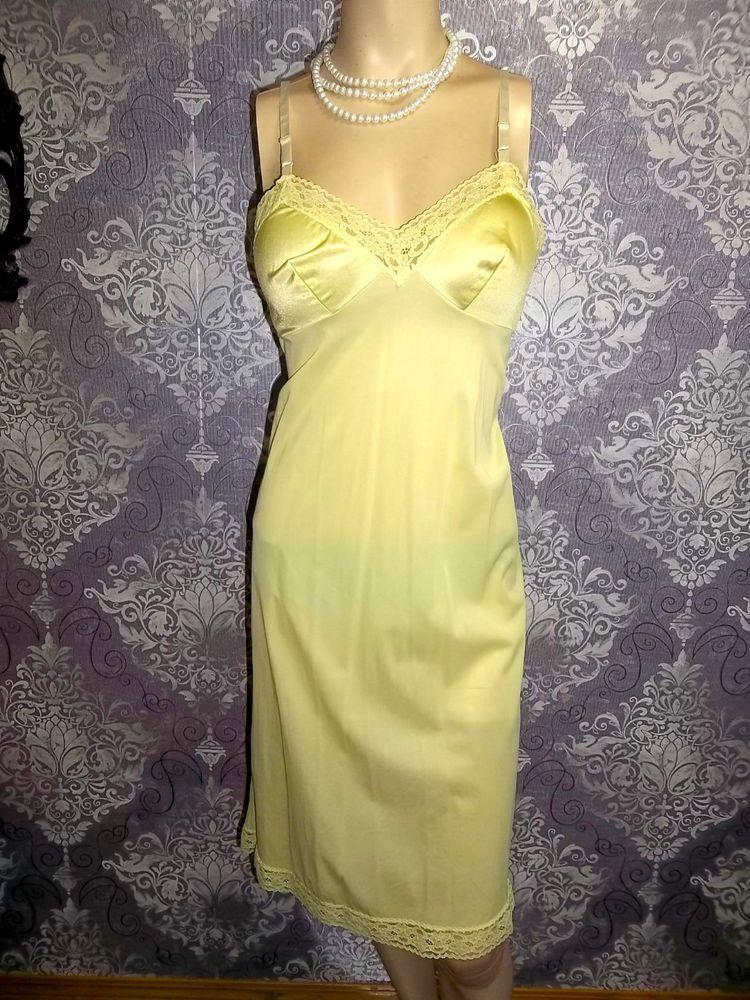 1d8c0d6e35f Vintage Full Slip Silky Nylon YELLOW Satin VANITY FAIR Pinup 1980s Lingerie  34
