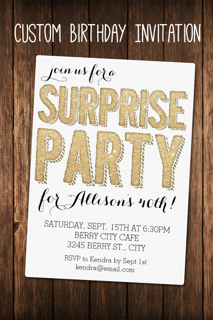Surprise Party Glitter Invitation Zazzle Com Custom