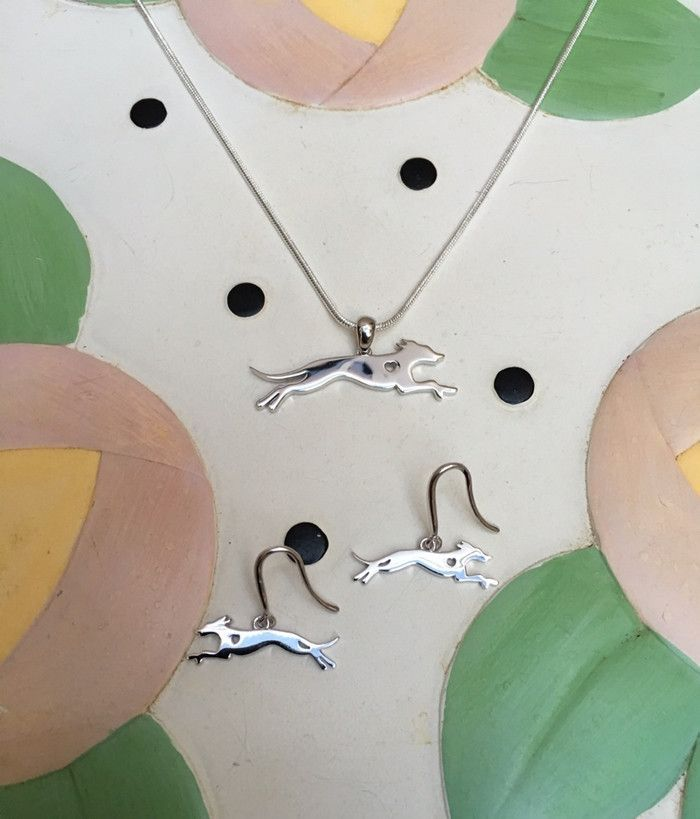 For casual or formal occasions, this one-of-a-kind .925 sterling silver Greyhound necklace and earrings gift set will accent any outfit. Both the necklace and earrings highlight one of a Greyhound's b