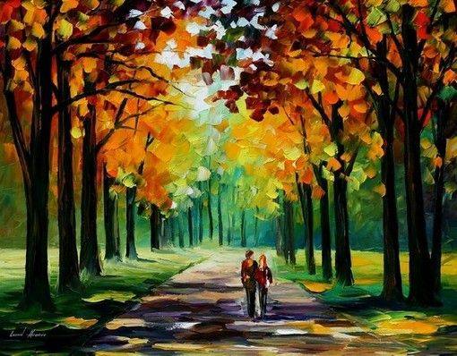Man with Umbrella Bewitched Park by Leonid Afremov 36x24 Art Print Poster