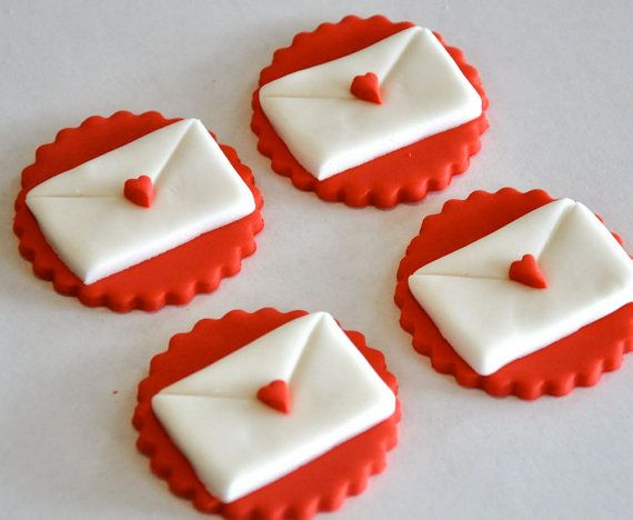 Cake Toppers In Fondant : Love Letter Valentine s Day Fondant Cupcake, Cake or ...