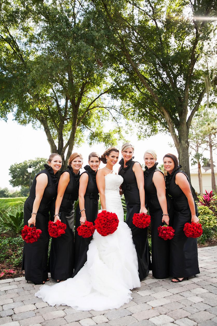 Wedding party bridal portrait black bridesmaid dresses with red wedding party bridal portrait black bridesmaid dresses with red rose bouquets photo by tampa ombrellifo Image collections