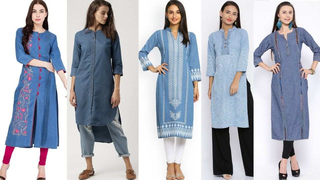 f5093f41270 Denim kurti designs to wear with jeans  palazo pants