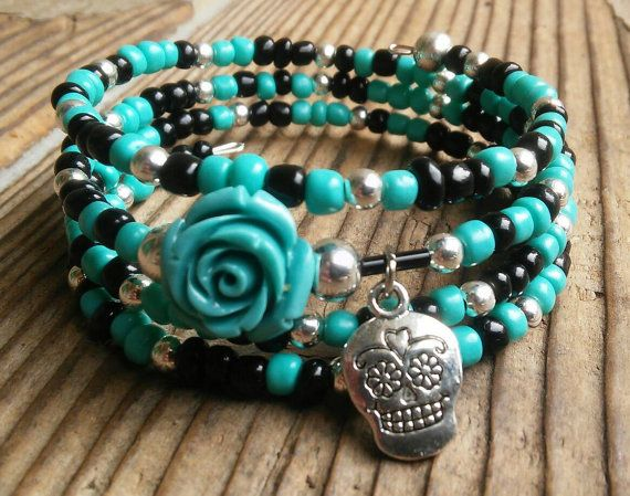 Hey, I found this really awesome Etsy listing at https://www.etsy.com/listing/287397779/day-of-the-dead-bracelet