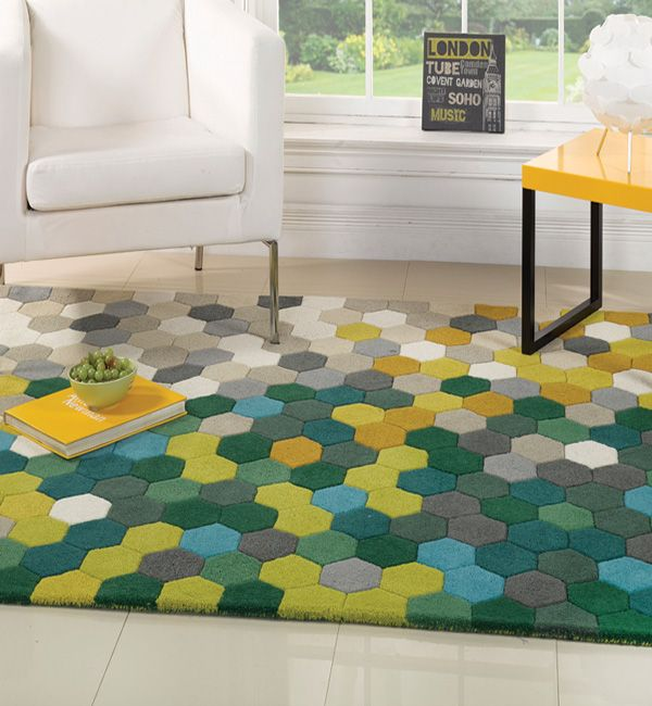 Contemporary Wool Rugs | Influx Wool Rug In Honeycomb Multi Colours