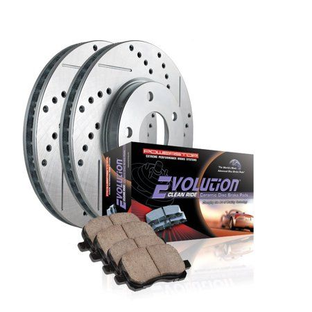 FRONTS 80390 Power Sport Cross Drilled Slotted Brake Rotors and Ceramic Brake Pads Kit