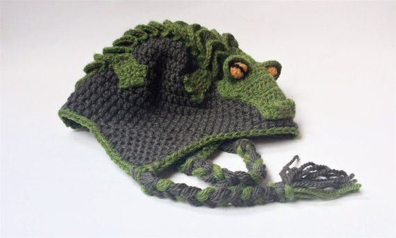 Earflap crocodile hat, crochet animal hat, halloween hat size small ...