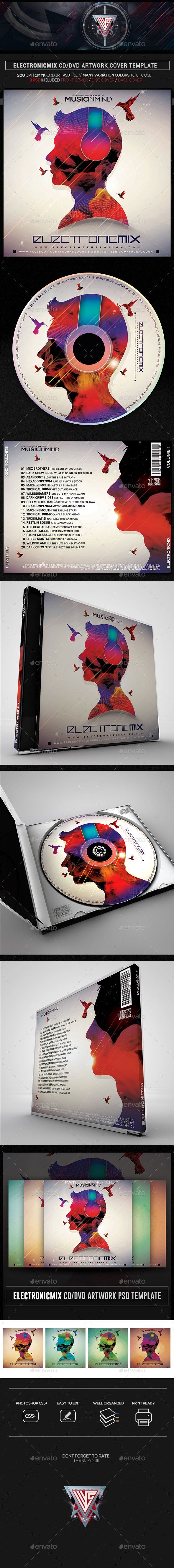 music in mind electro mix cd dvd template cd dvd cover templates