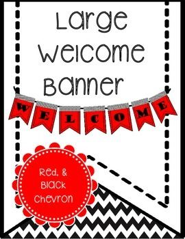 free welcome banner red black chevron printable classroom