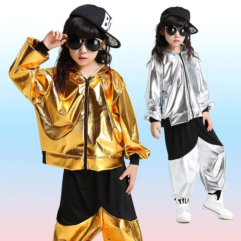 9612a5aefe45c Jazz Faux Leather Gold Silver Hip Hop Dance Costumes For Kids Zipper ...