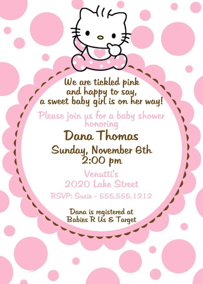Hello Kitty Baby Shower Invitation Pink