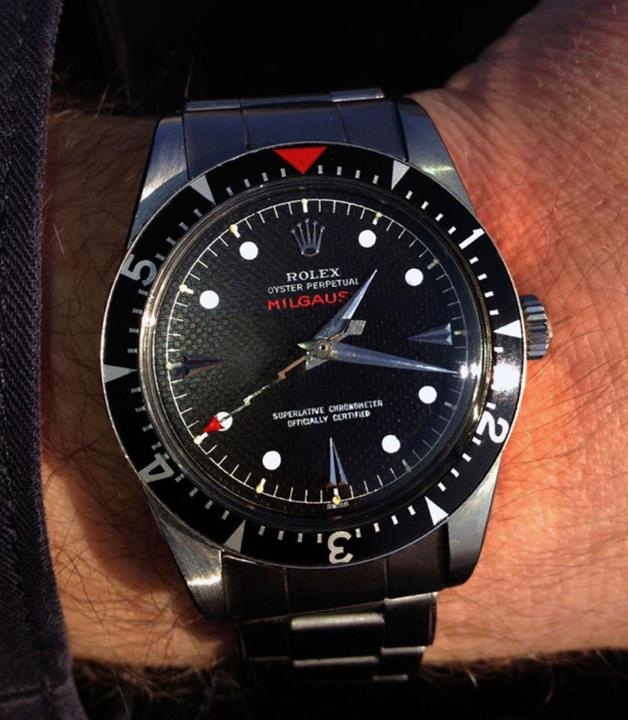 Vintage 6541 Rolex Milgauss with the red triangle bezel
