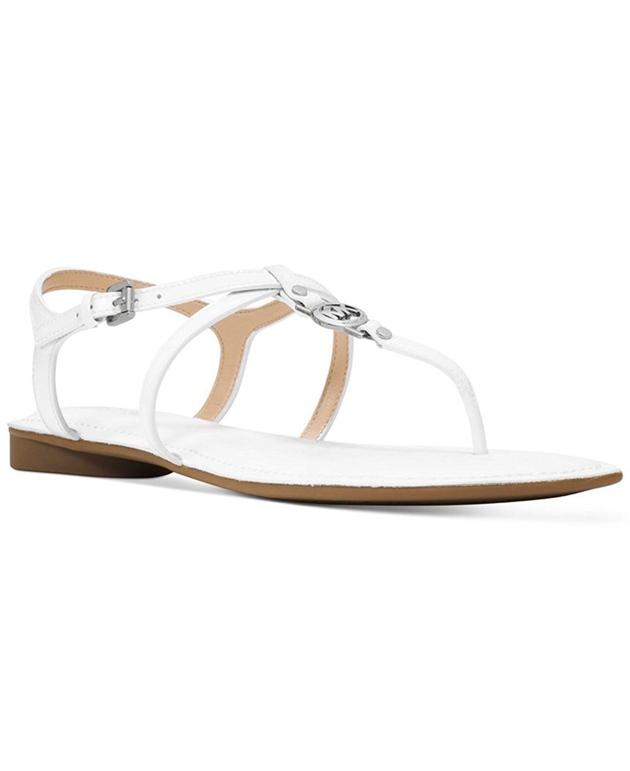 10b45740ab07 Michael Kors Bethany Sandal Optic White Patent Leather Flat Shoe Women size  5.5 M