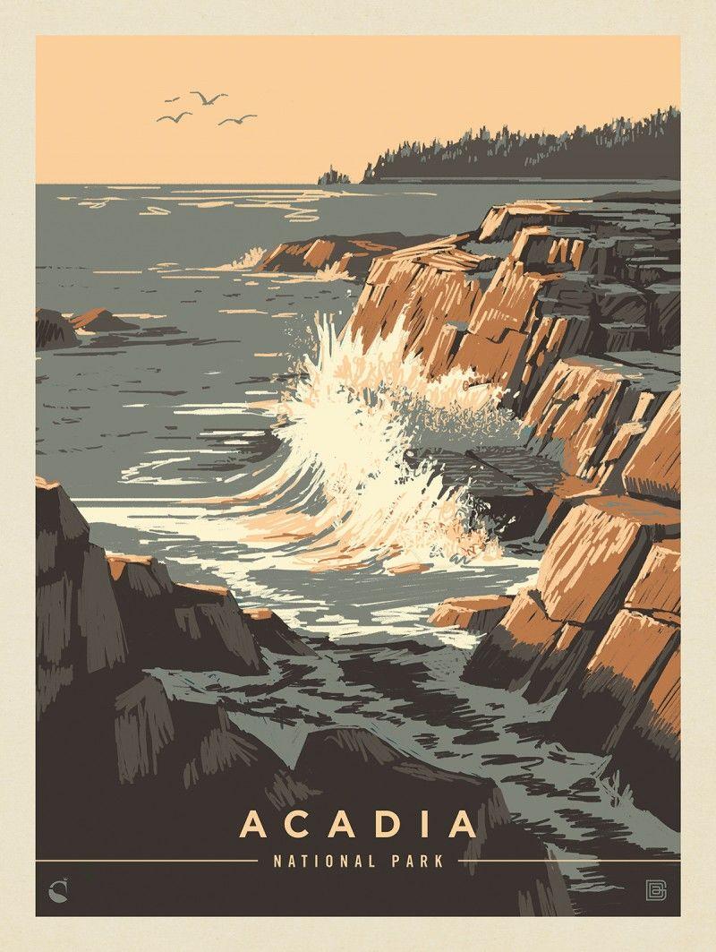 Acadia National Park Secrets Of The Sea Anderson Design Group National Park Posters Vintage Poster Design Retro Travel Poster
