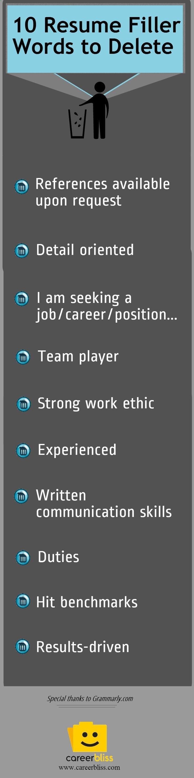 Resume Tips: Toss these Resume Filler Words | Tates | Pinterest ...