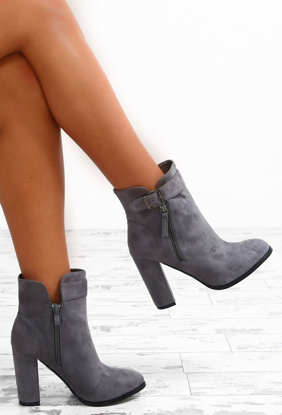 56fca260d21 High Profile Grey Faux Suede Block Heel Ankle Boots - UK 3 in 2019 ...