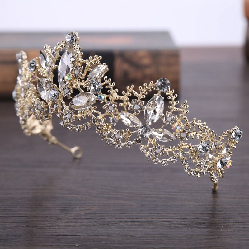 Details about Baroque Luxury Crystal Bridal Crown Light Gold for Women Hair Accessories E7K3 #crowntiara