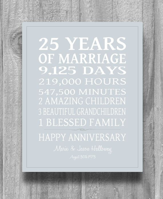 Gift Ideas For Parents 25th Wedding Anniversary: SILVER 25th Anniversary Gift Personalized Our Life Story