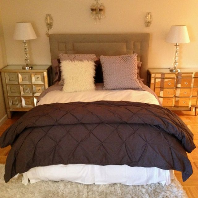 purple gray white bedroom  mirrored furniture for the