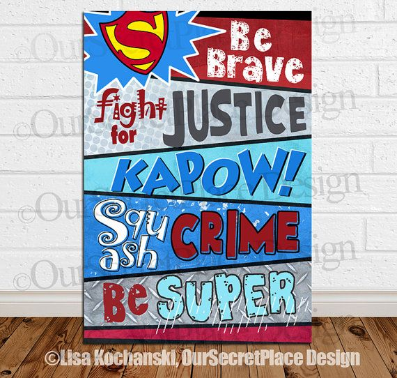 Superhero Inspirational Children's Word Art Décor Sign By