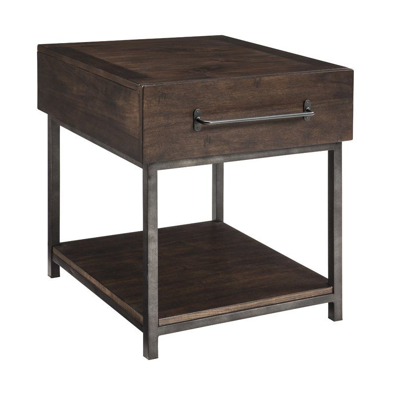 For Fans Of Urban Industrial Design This End Table Clearly Steals The Show Tabletop Is Crafted Of Acacia Ve Furniture End Tables Ashley Furniture Living Room