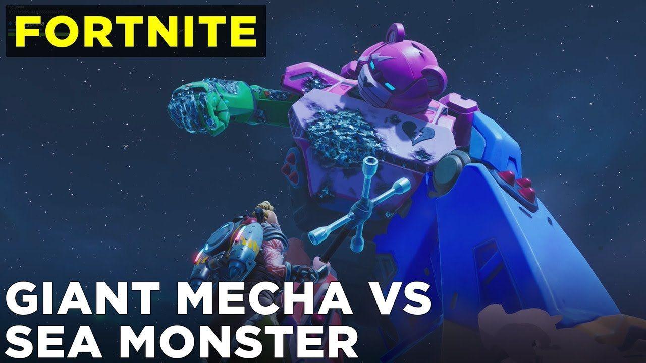 Fortnite Mecha Vs Sea Monster Battle Occasion Full Gameplay