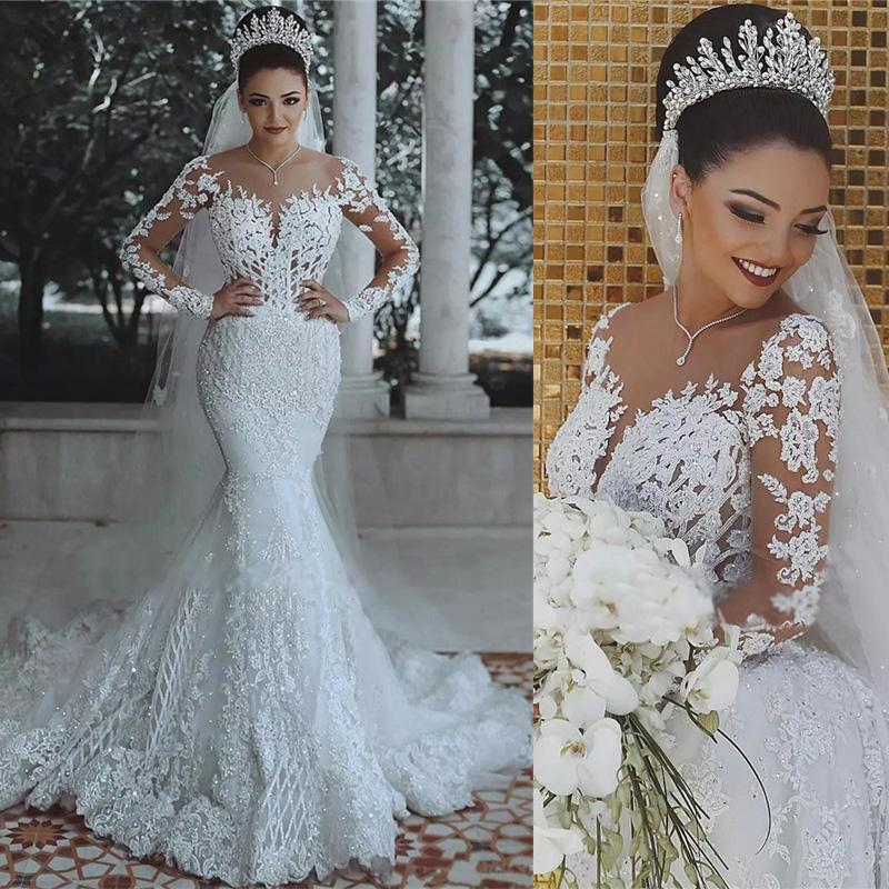 Luxury Beaded Lace Mermaid Wedding Dresses Wd0340 Sheer Wedding Dress Long Sleeve Mermaid Wedding Dress Lace Mermaid Wedding Dress
