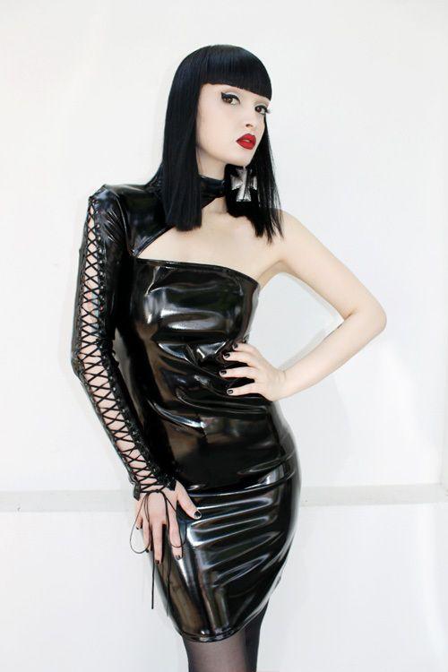 Pvc lace up dress