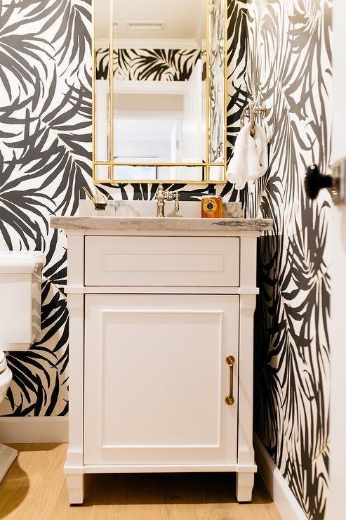 Powder Room By Amy Kartheiser Design: Powder Room Design Features A Rectangular Gold Framed