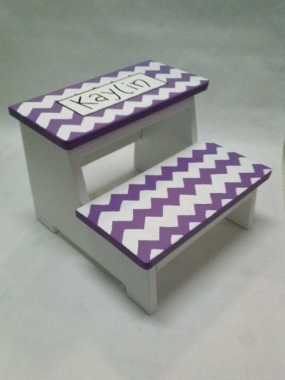 Pleasing Child Step Stool Chevron With Name By Wouldknots On Etsy Caraccident5 Cool Chair Designs And Ideas Caraccident5Info