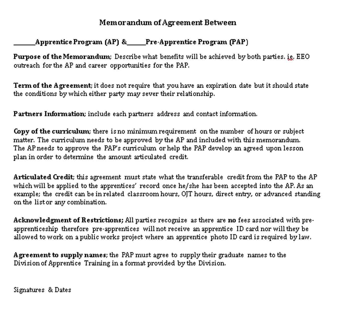 Formal Memorandum of Agreement Template in 2020