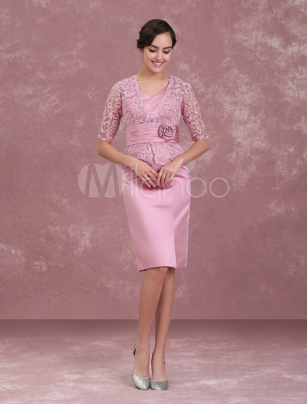 Mutter der Braut Kleider Cameo Rosa Hochzeit Gast Kleid Kurz Mantel ...