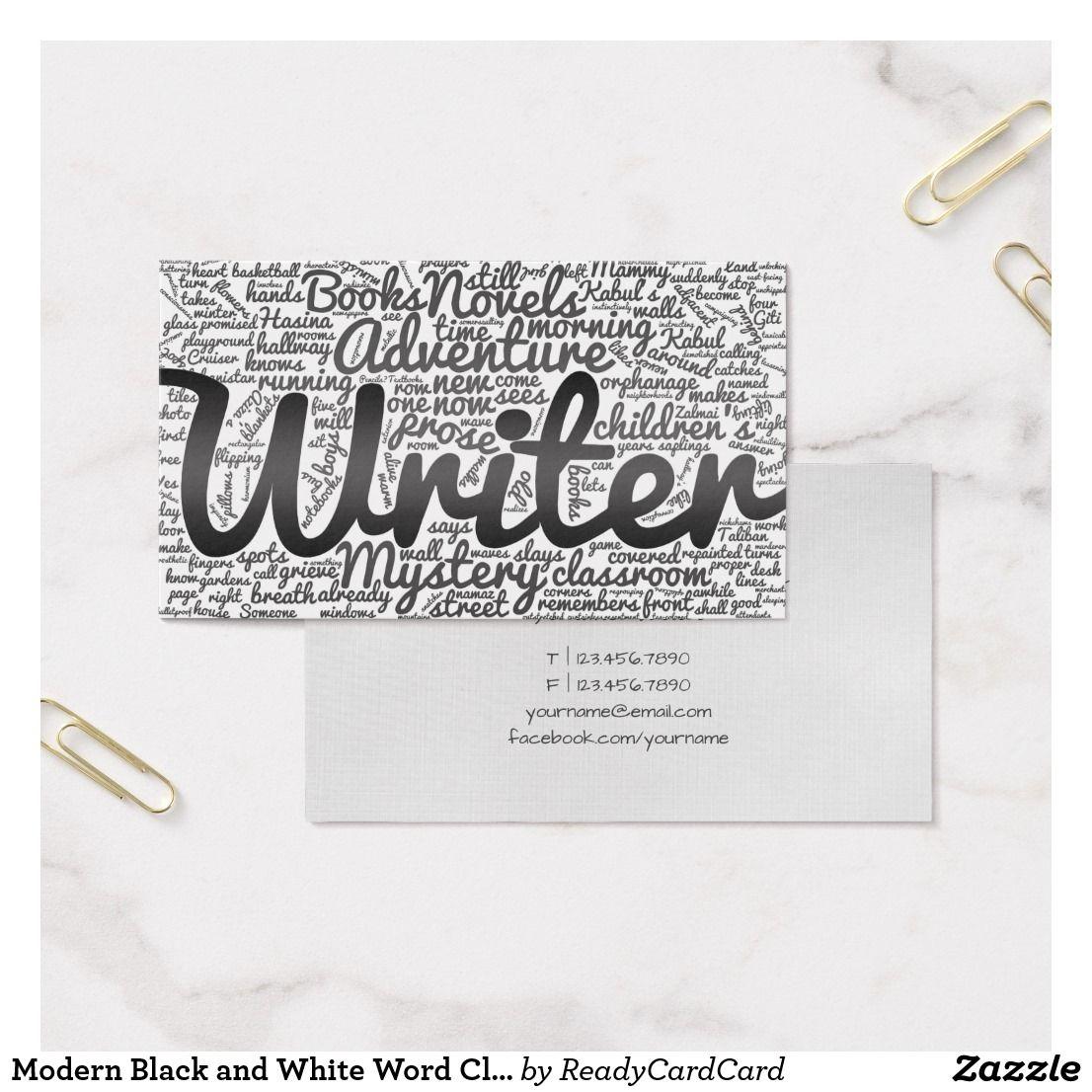 Modern black and white word cloud writers authors business card modern black and white word cloud writers authors business card reheart Choice Image