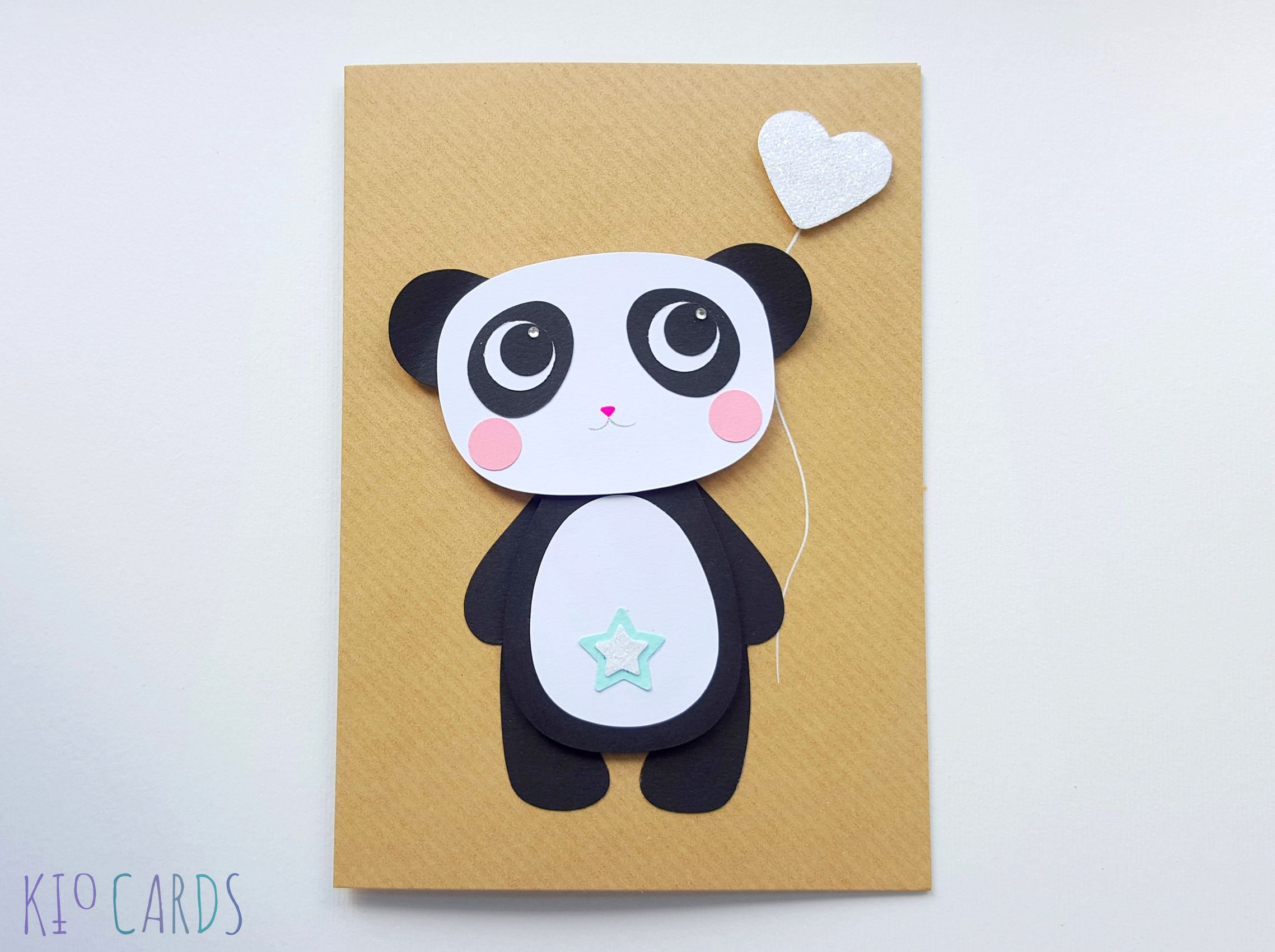 Handmade Panda Greeting Card Happy Birthday Panda Happy