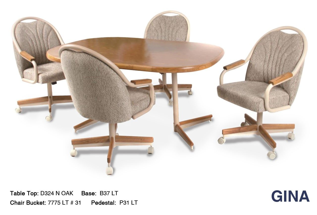 The Gina Metal And Wood Combination Swivel Tilt Dinette Set By