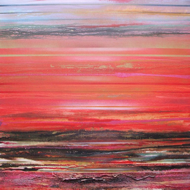"""Mike Bell; Paint, 2012, Mixed Media """"Druridge bay Sunset Series S"""""""