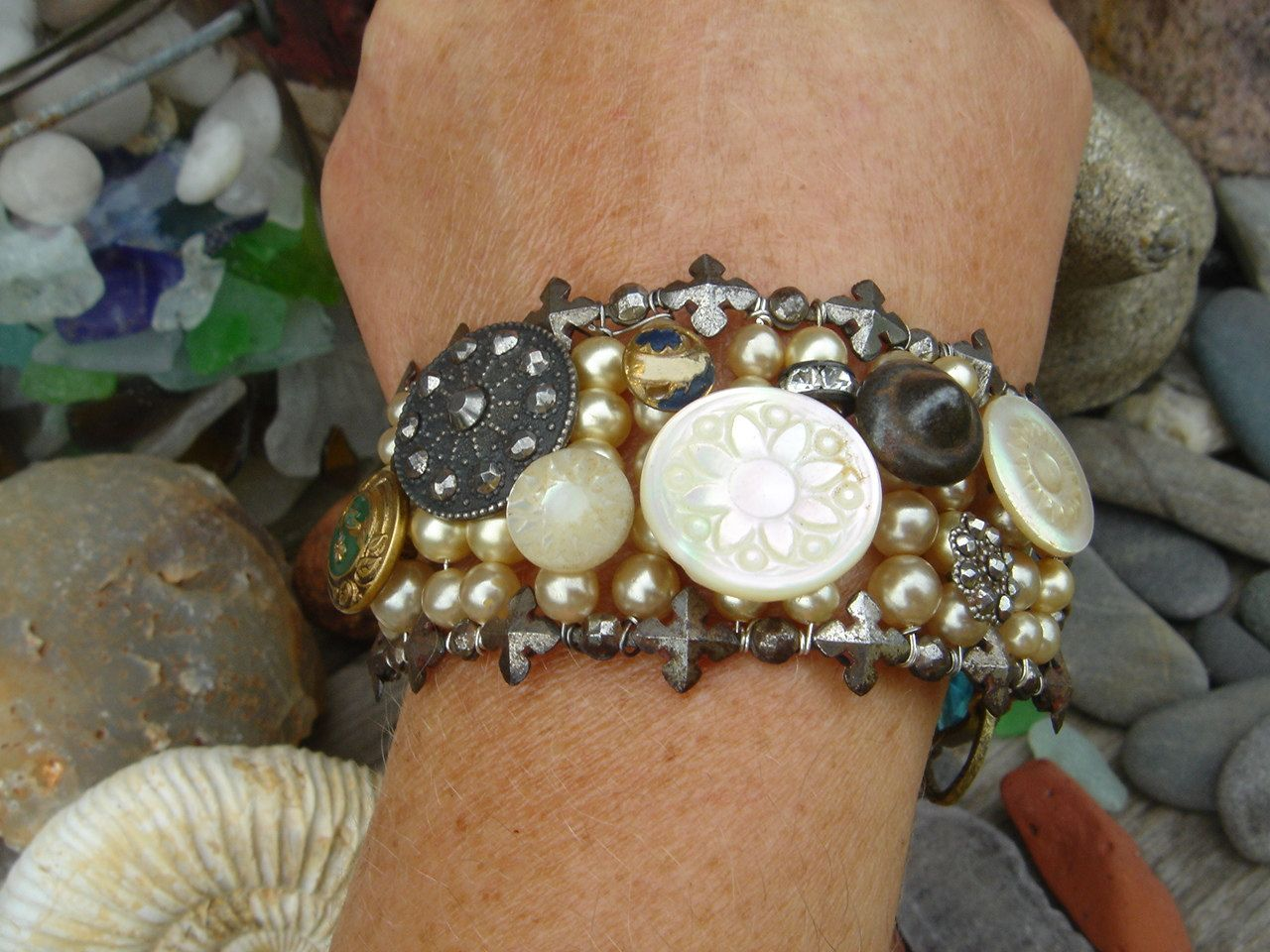 // Gypsy Soul Antique Button Cut Steel Pave Assemblage Bracelet,Handmade,One of a kind. $225.00, via Etsy.
