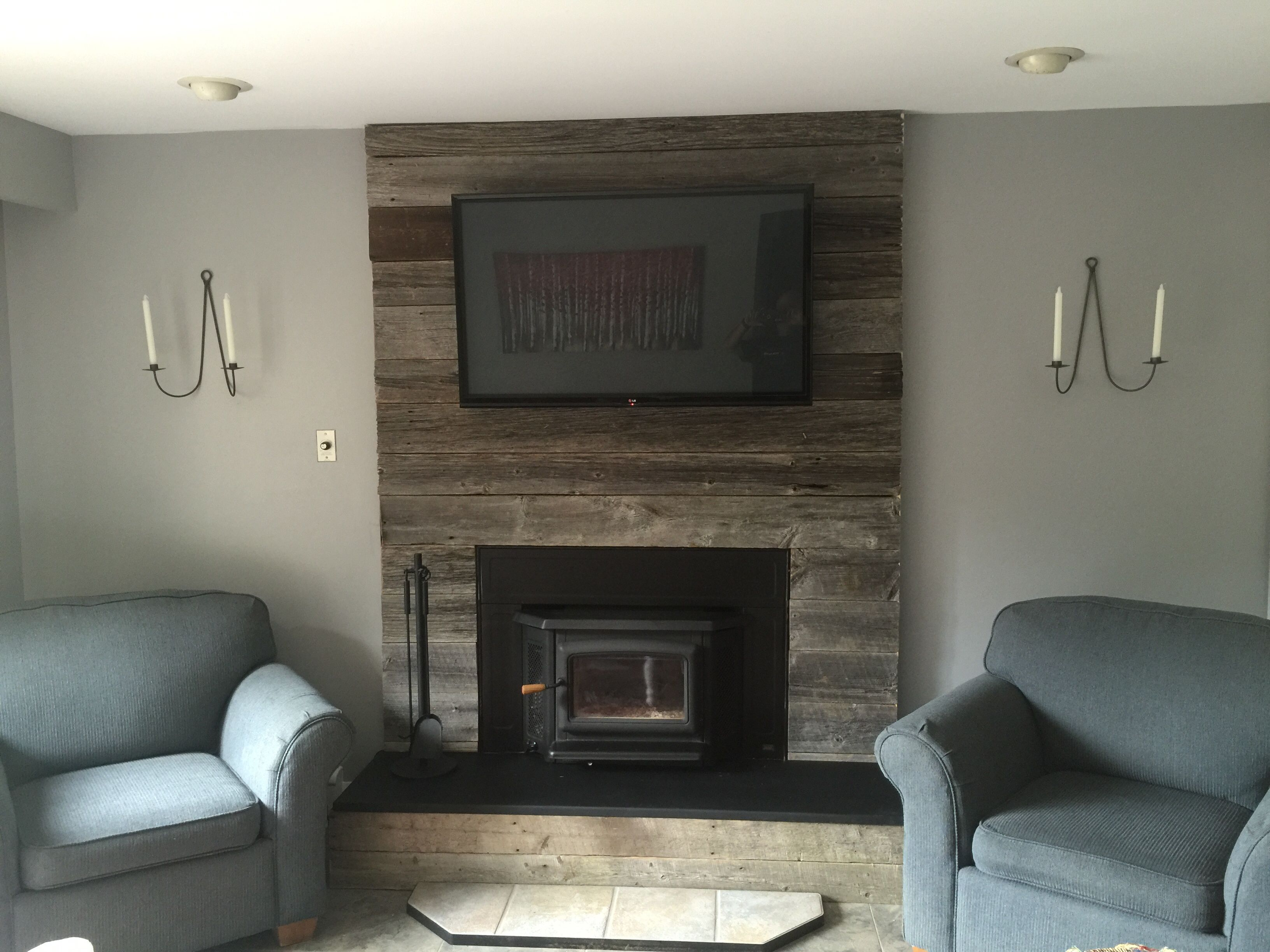 barnboard fireplace surround and plate steel hearth completed l