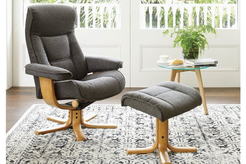 Super Viking Large Fabric Recliner And Footstool By Img Harvey Bralicious Painted Fabric Chair Ideas Braliciousco