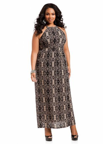 Ashley Stewart Women's Plus Size Jeweled Batik Print Maxi