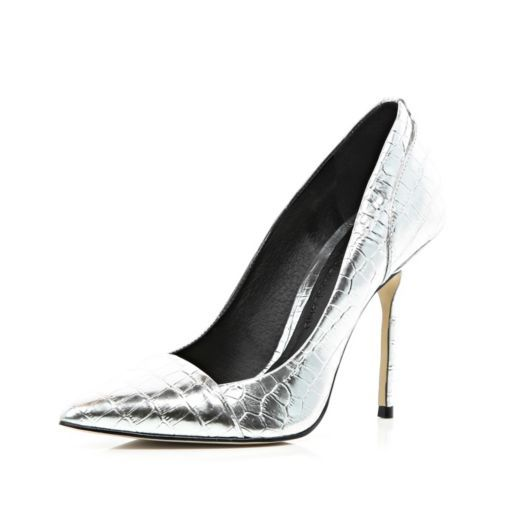 Silver toe cap pointed court shoes
