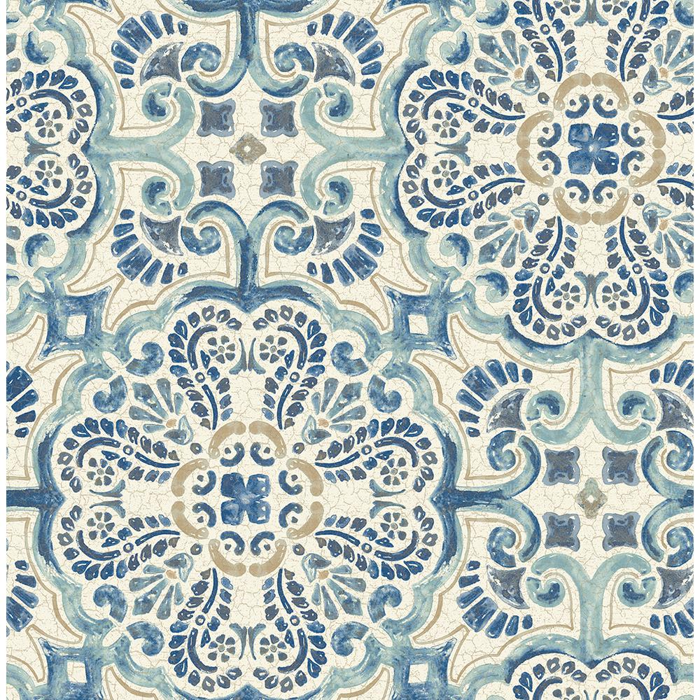 A Street Florentine Blue Faux Tile Paper Strippable Roll Wallpaper Covers 56 4 Sq Ft 2540 24046 The Home Depot Nuwallpaper Tile Wallpaper Peel And Stick Wallpaper
