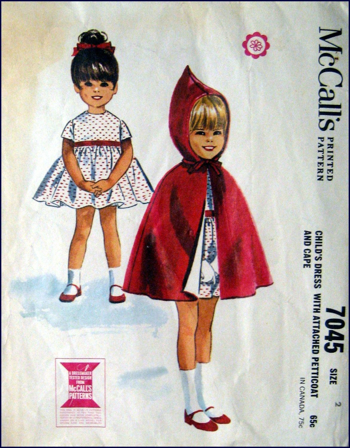 Vintage 1963-Empire Waist Dress-Hooded Pixie Cape-Toddler Sewing ...