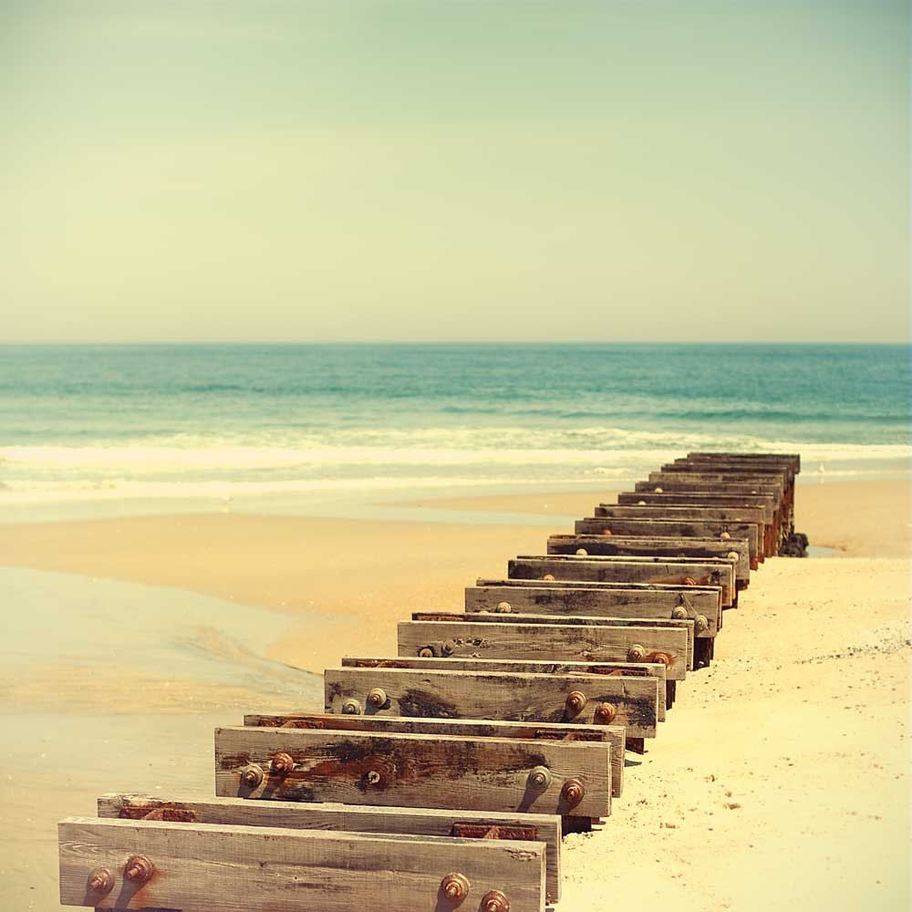 Beach photography, Summer, a pier, ombre, mint green waves, peach ...