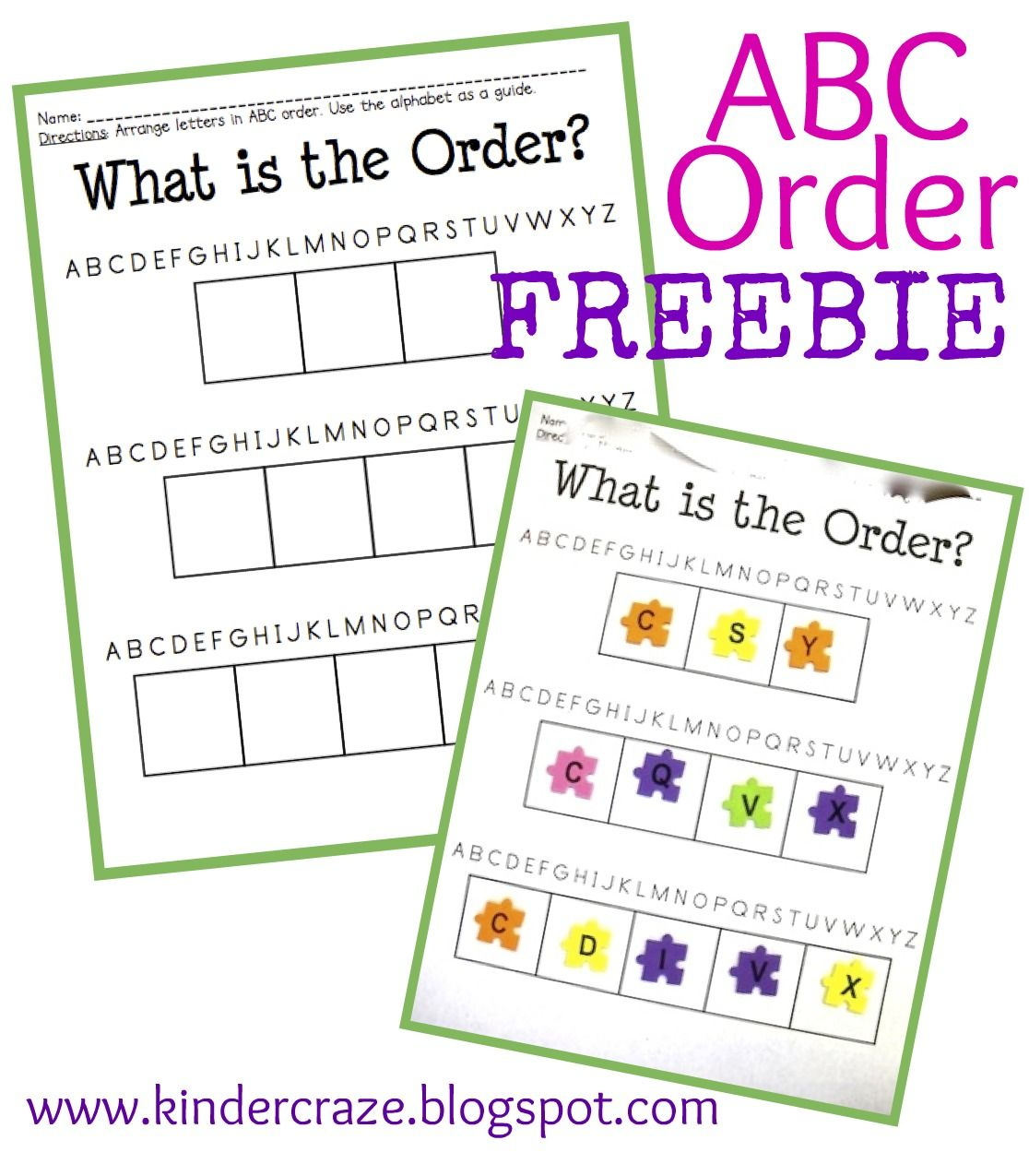 Abc Order Practice Freebie From The Kinder Craze Store