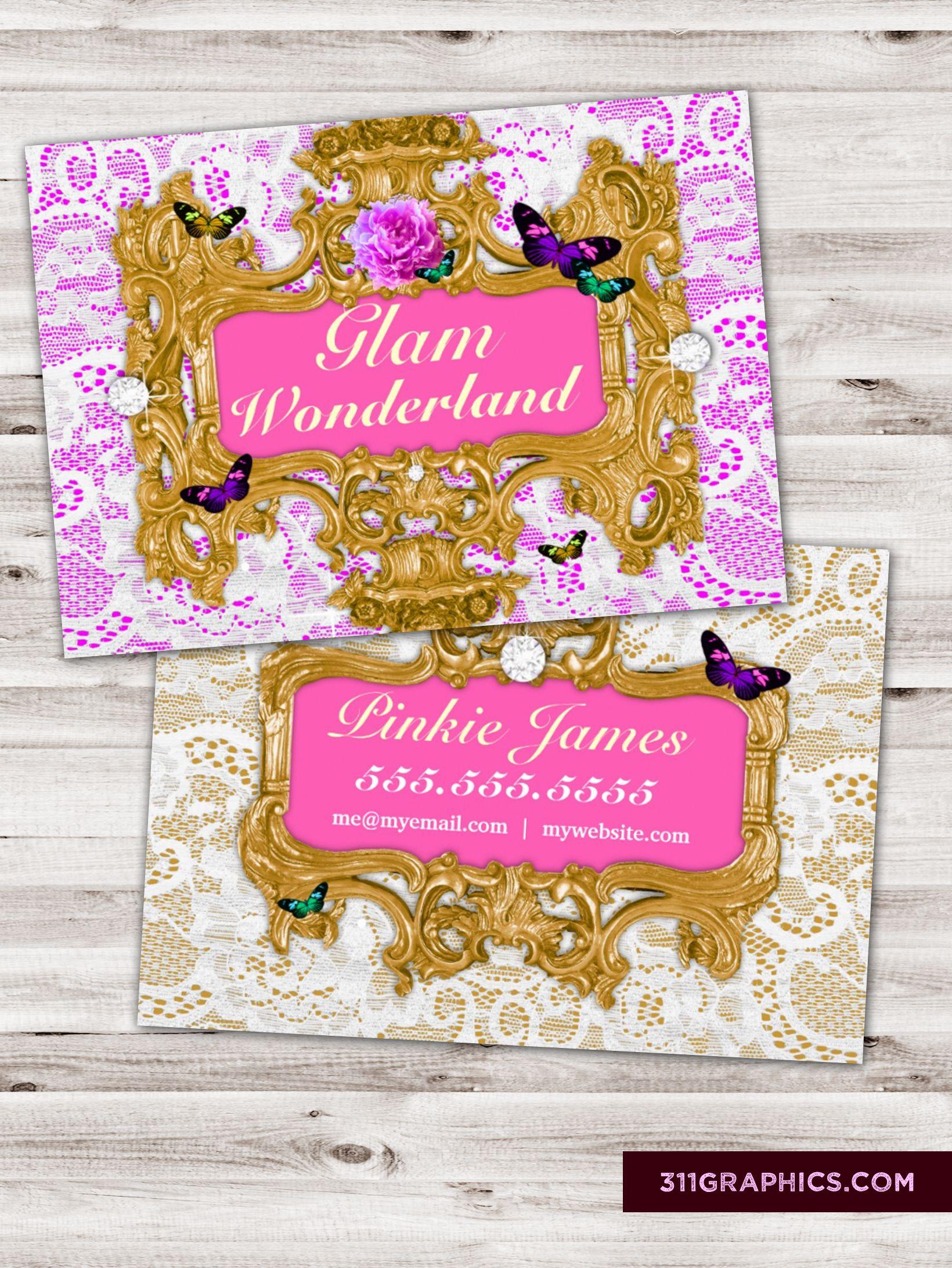 lace business cards funky junker trashers butterflies gold