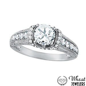 Engagement Ring with Diamond Collar and Antique Hand Engraving available at Wheat Jewelers