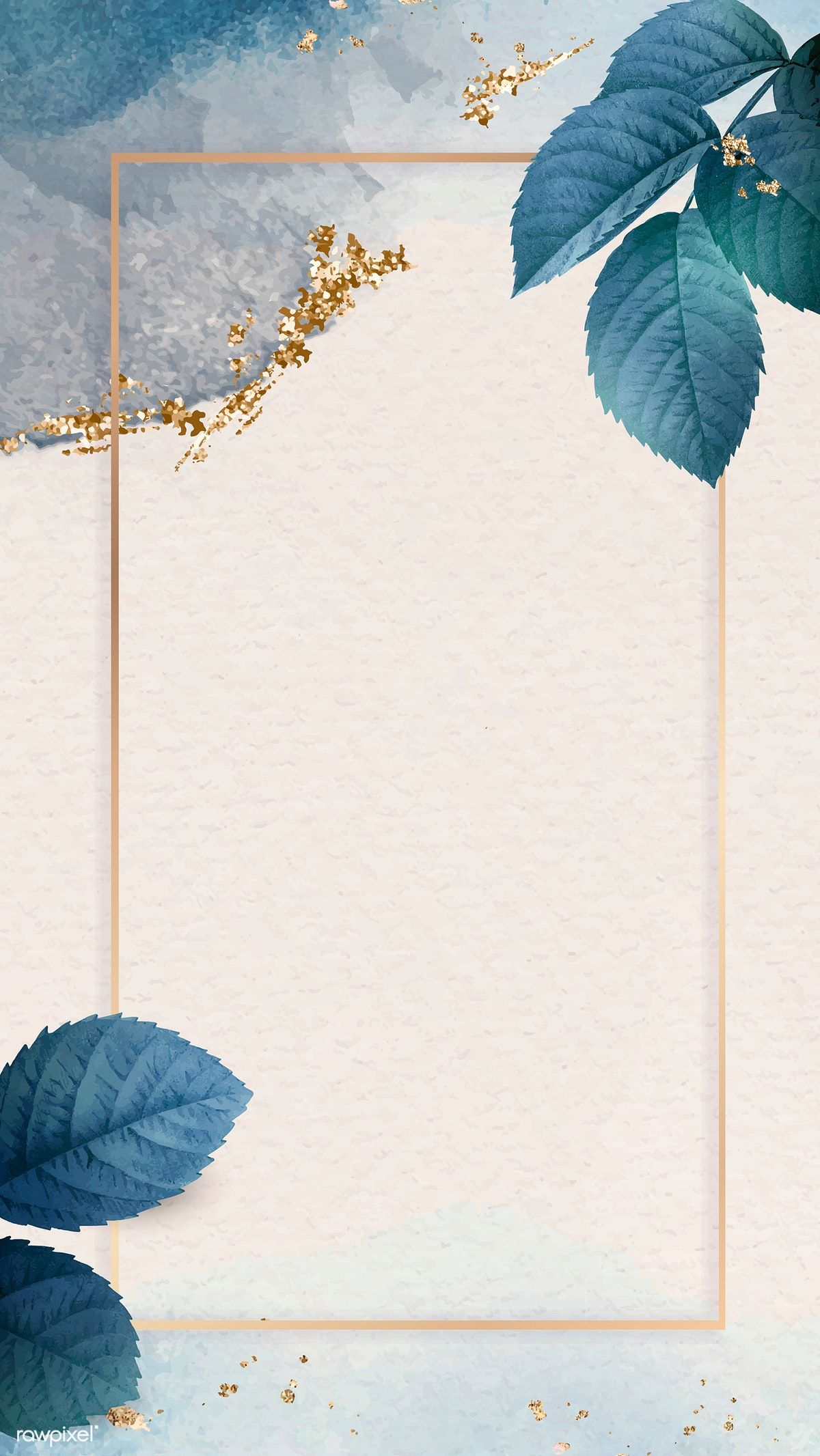 Download premium vector of Gold frame with foliage pattern mobile phone wallpaper vector by Adjima about blue gold, mobile invitations, iphone wallpaper, Blank blue gold frame template, and background 1213968