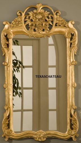 Large Ornate Gold Leaf Gilt Mirror Antique French Regency
