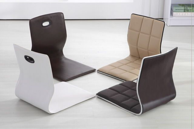 4pcs Lot Zaisu Chair Faux Leather Japanese Tatami Floor Legless Chair Furniture Japanese Furniture Furniture Living Room Chairs